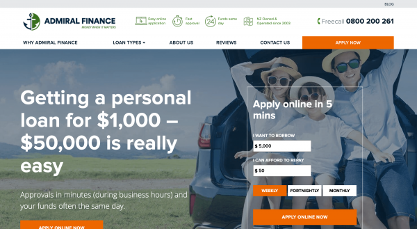 Admiral Finance - Online loans up to $50 000